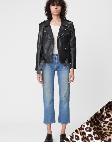 Deadwood - Recycled Leather Womens Leopard Biker Jacket