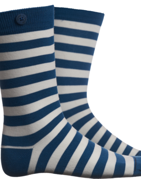 Qnoop – Socks, Plain Stripe Sea Blue White